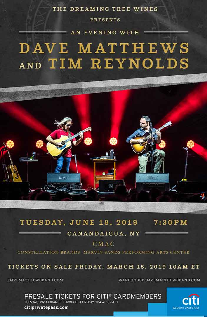 Dave Matthews and Tim Reynolds show announcement