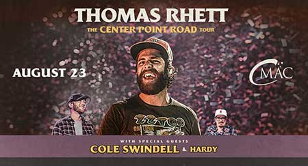 Thomas rhett with chole swindell and hardy at cmac